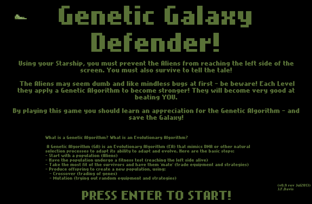 Genetic Galaxy Defender screenshot title screen