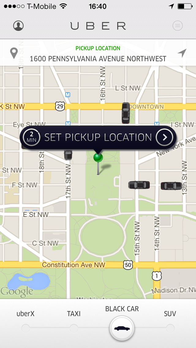 Uber App screenshot