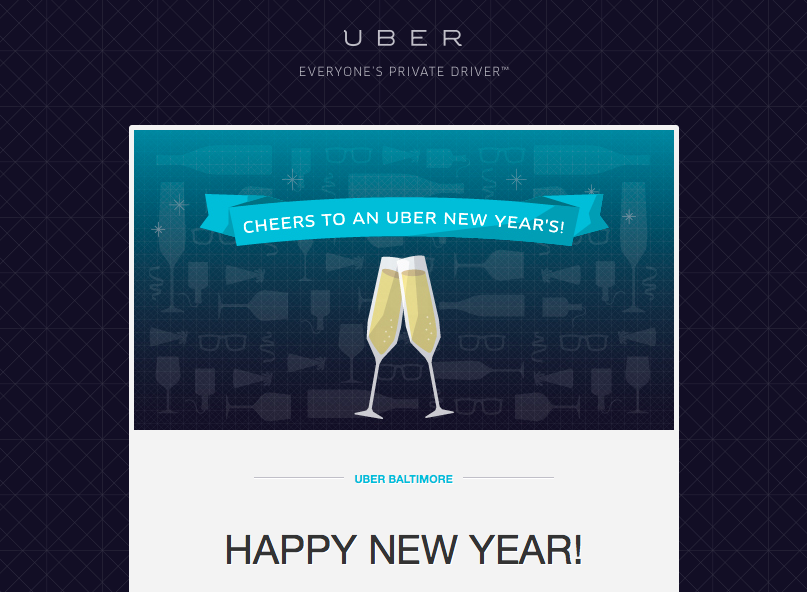 Header of Uber Email NYE